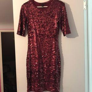 BCBGMAXAZRIA sequin wine maroon colored dress